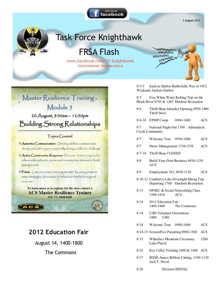 3 August 2012          Task Force Knighthawk                    FRSA Flash               www.facebook.com/TF Knighthawk   ...