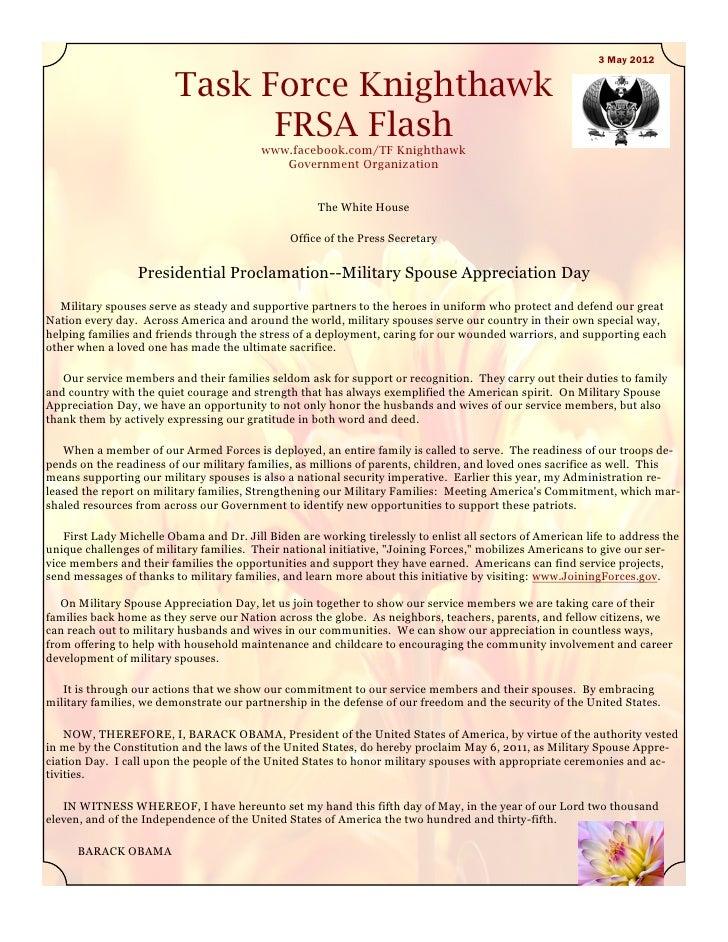 3 May 2012                         Task Force Knighthawk                               FRSA Flash                         ...