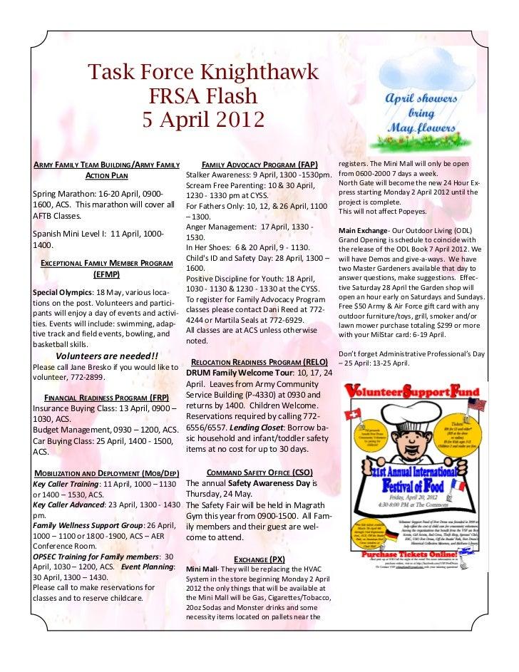 Task Force Knighthawk                      FRSA Flash                     5 April 2012ARMY FAMILY TEAM BUILDING/ARMY FAMIL...