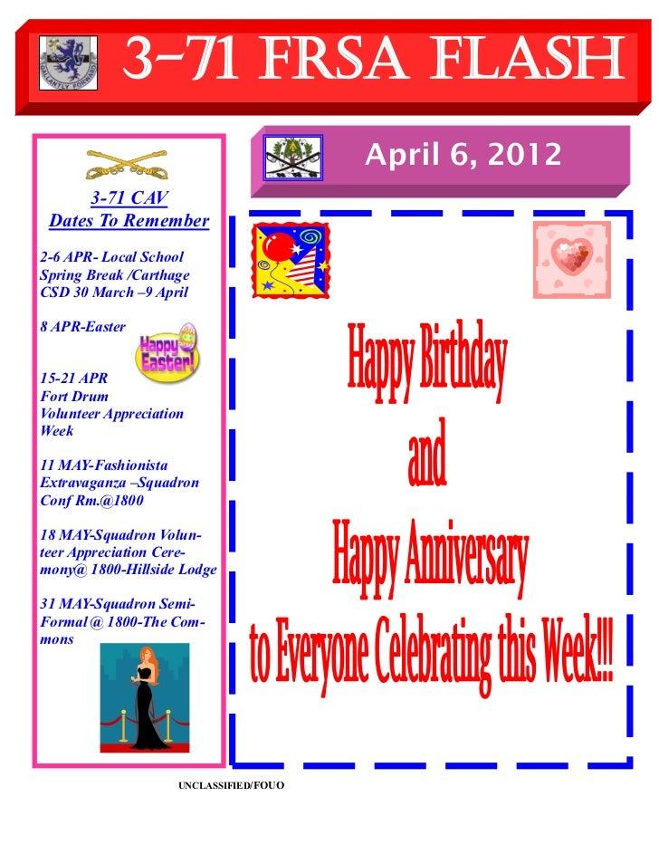 3-71 FRSA Flash                                         April 6, 2012      3-71 CAV Dates To Remember2-6 APR- Local School...