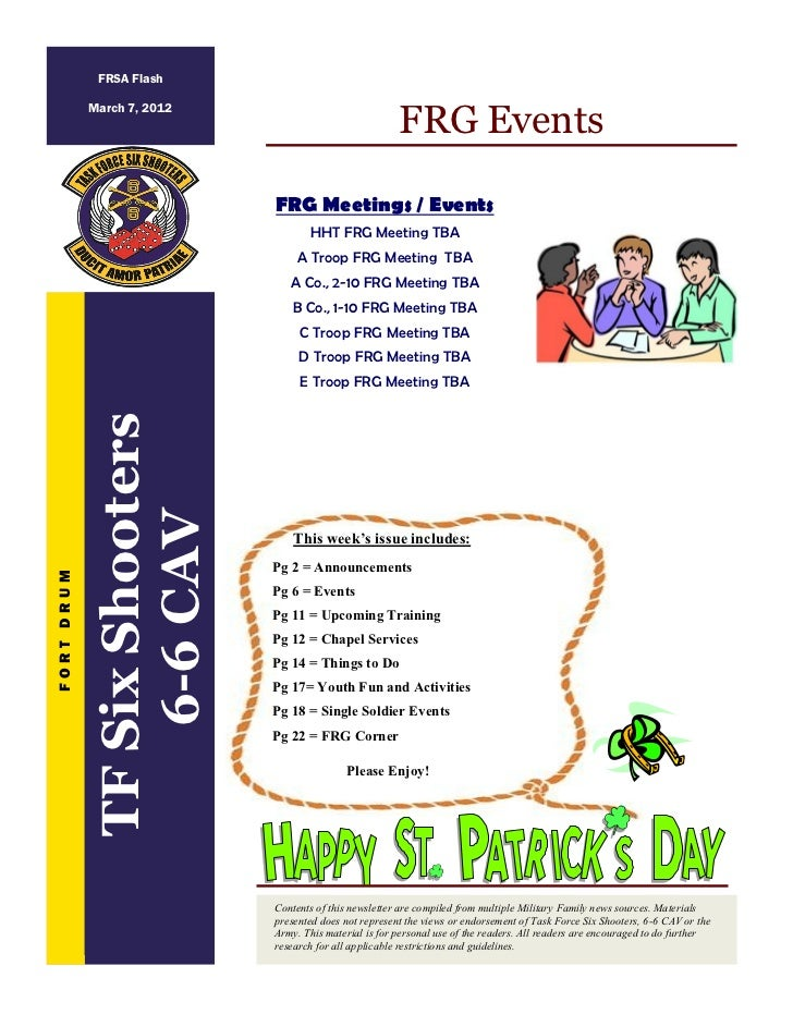 FRSA Flash                                                         FRG Events            March 7, 2012                    ...