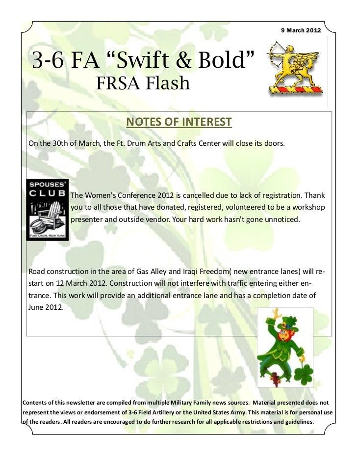 "9 March 2012   3-6 FA ""Swift & Bold""                           FRSA Flash                                       NOTES OF I..."