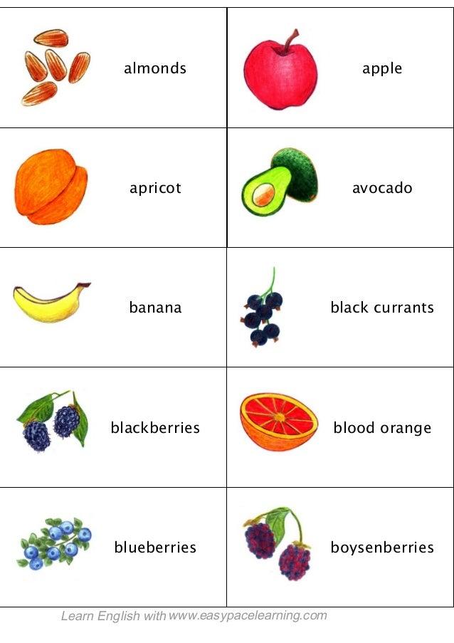 almonds apple apricot avocado banana black currants blackberries blood orange blueberries boysenberries Learn English with...