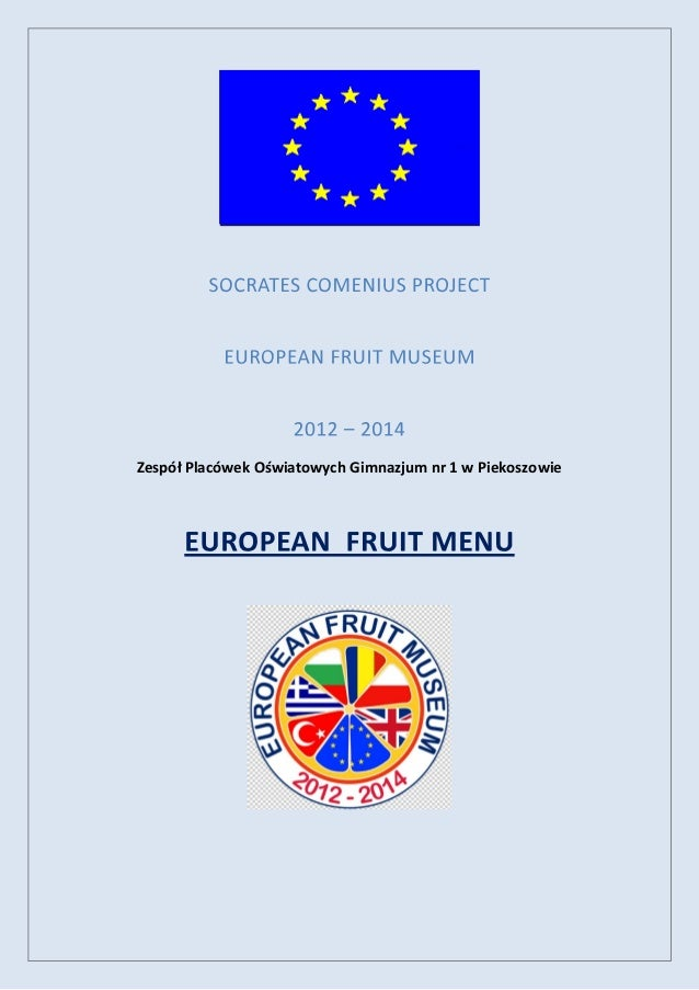 Fruit Menu - prepared by students in European Fruit Museum Comenius Project