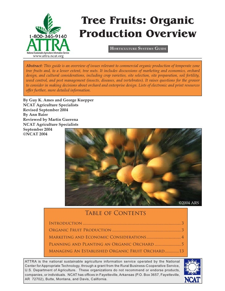Tree Fruits: Organic                                                        Production Overview                           ...