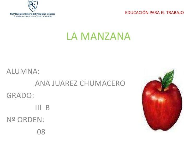 EDUCACIÓN PARA EL TRABAJO                  LA MANZANA  ALUMNA:        ANA JUAREZ CHUMACERO GRADO:        III B Nº ORDEN:  ...