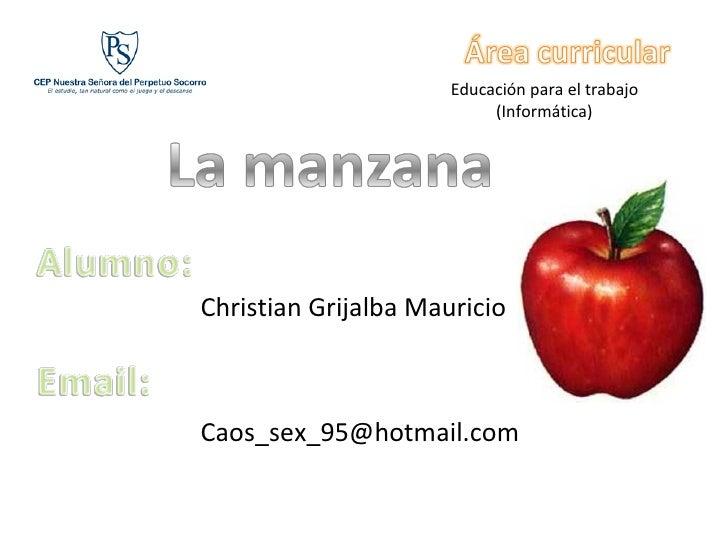 Educación para el trabajo (Informática) Christian Grijalba Mauricio [email_address]