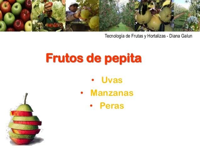 Tecnología de Frutas y Hortalizas - Diana Galun  Frutos de pepita • Uvas • Manzanas • Peras
