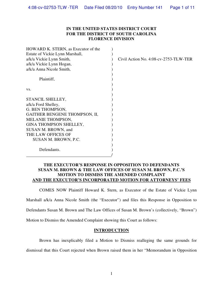 Stern Response to motion to dismiss 8-20-10