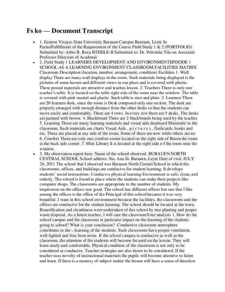 Fs ko — Document Transcript    1. Eastern Visayas State University Burauen Campus Burauen, Leyte In    PartialFulfillment ...