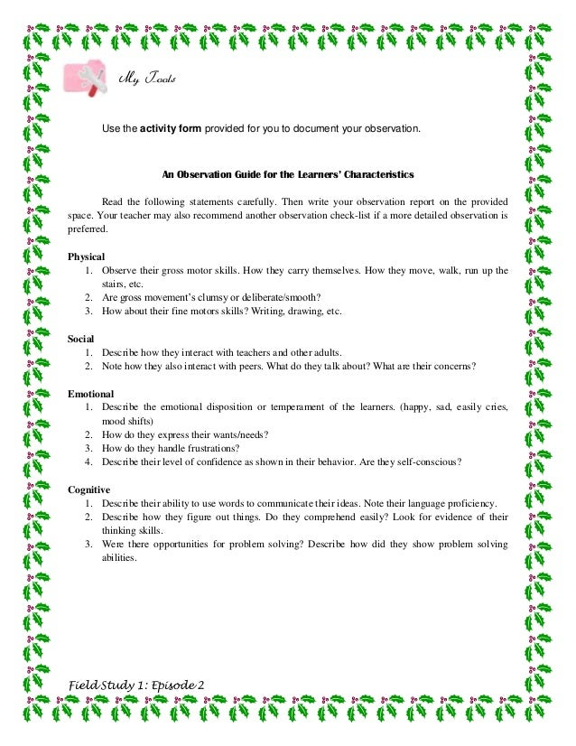 My Tools       Use the activity form provided for you to document your observation.                      An Observation Gu...
