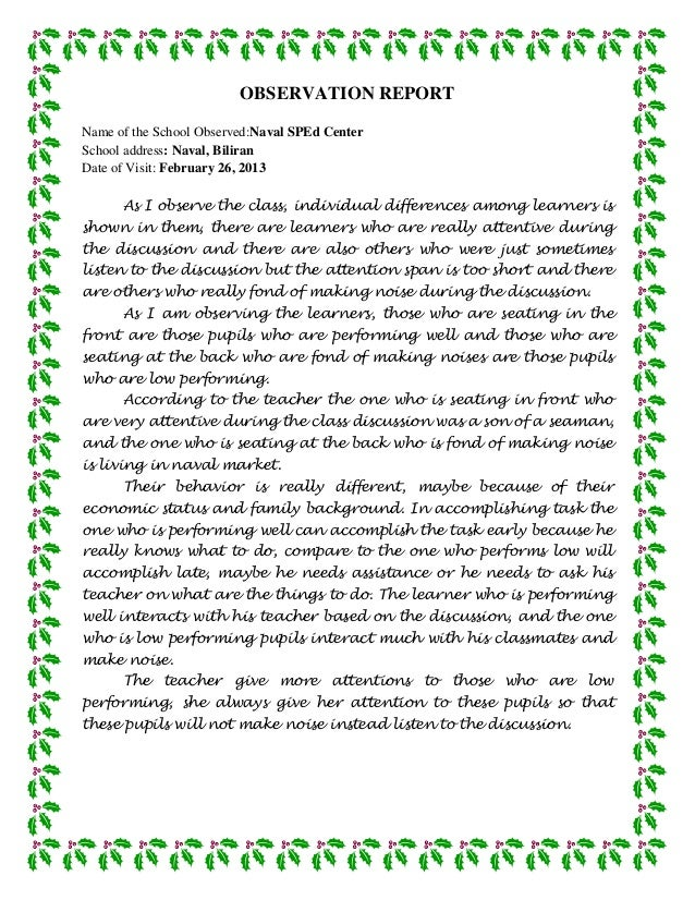 OBSERVATION REPORTName of the School Observed:Naval SPEd CenterSchool address: Naval, BiliranDate of Visit: February 26, 2...