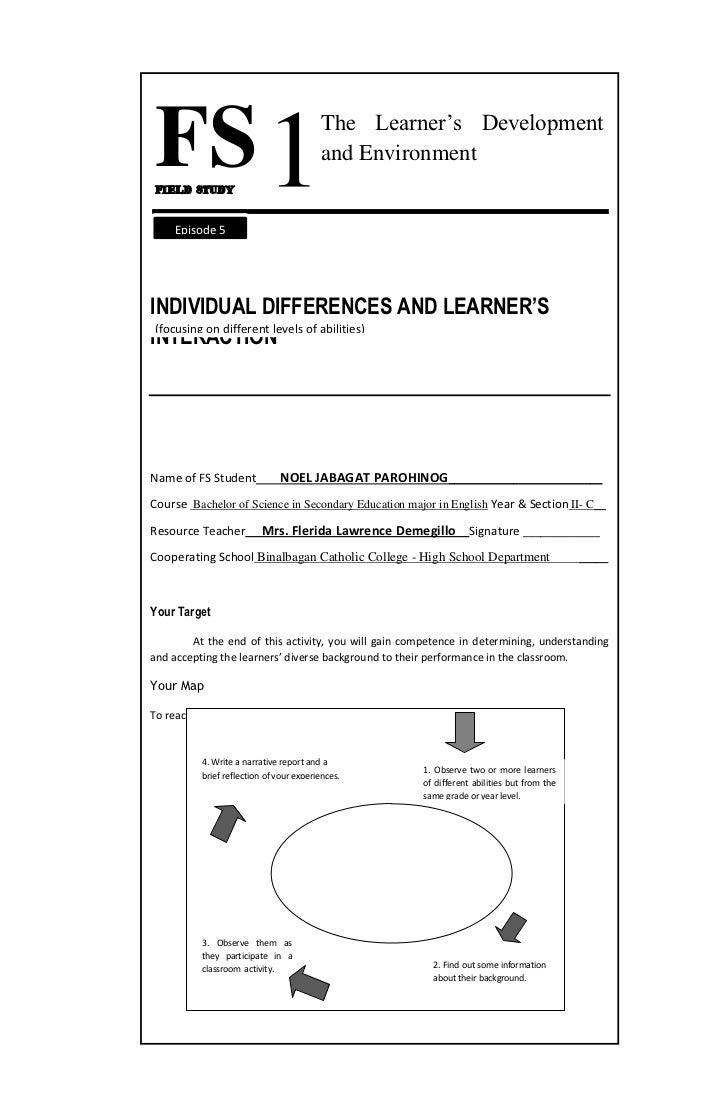 FS 1FIELD STUDY                                         The Learner's Development                                         ...
