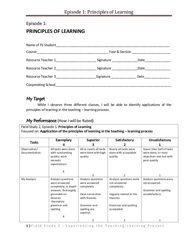Episode 1: Principles of Learning   Episode 1:   PRINCIPLES OF LEARNING   Name of FS Student______________________________...