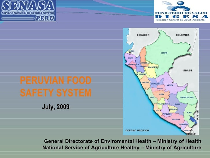 PERUVIAN FOOD SAFETY SYSTEM July, 2009 General Directorate of Enviromental Health – Ministry of Health National Service of...