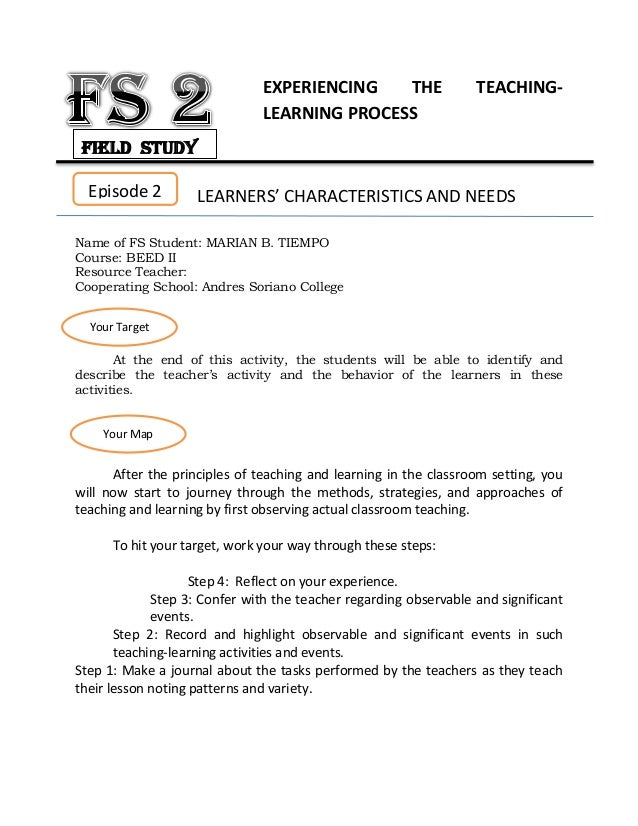 field study on experiencing the teaching learning process Download field study 2: fs2 experiencing the teaching- learning process download document.
