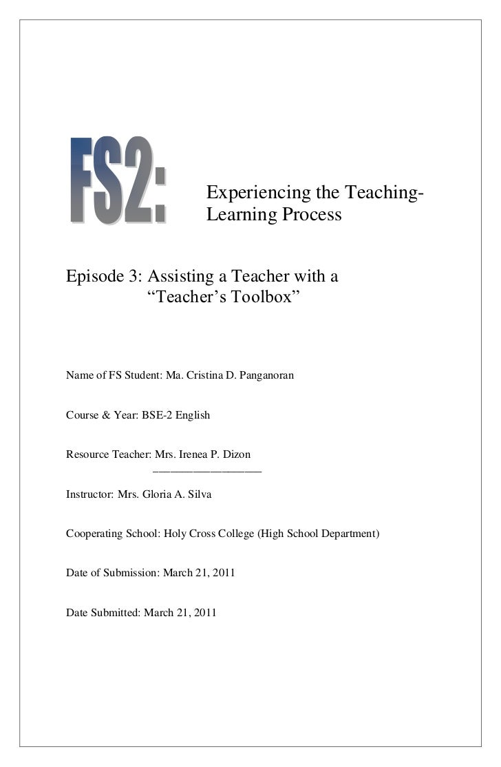 """Experiencing the Teaching-                              Learning ProcessEpisode 3: Assisting a Teacher with a           """"T..."""
