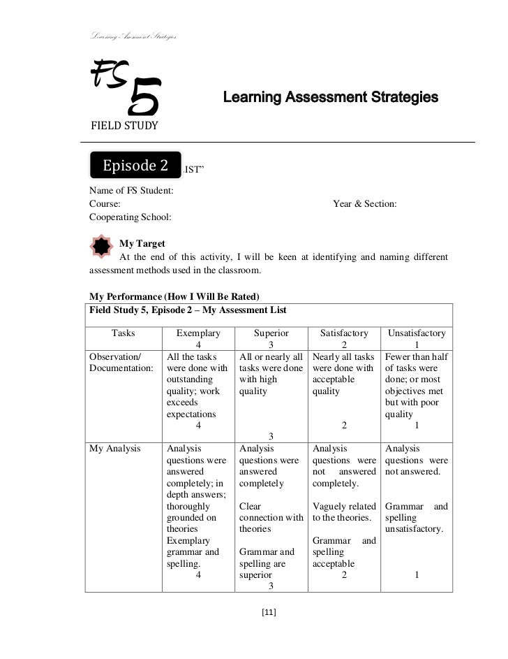 Learning Assessment StrategiesFSFIELD STUDY            5                          Learning Assessment Strategies  Episode ...