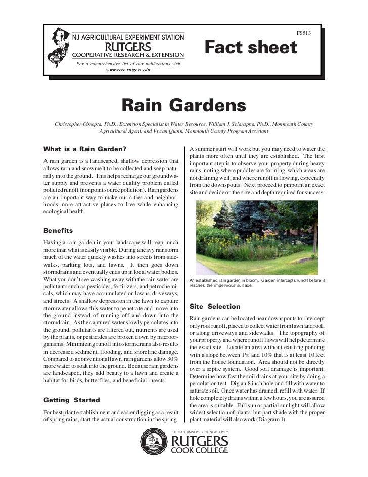 Rutgers Cook College: Rain Gardens Fact Sheet