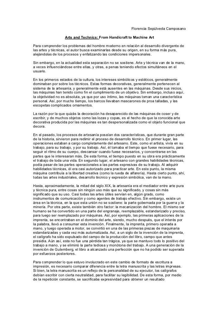 Florencia Sepúlveda Camposano                    Arts and Technics: From Handicraft to Machine ArtPara comprender los prob...
