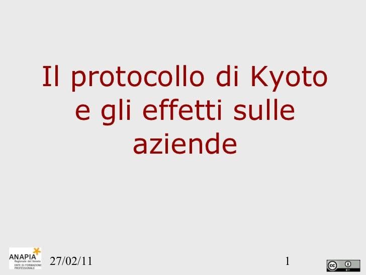Il protocollo di Kyoto e gli effetti sulle aziende