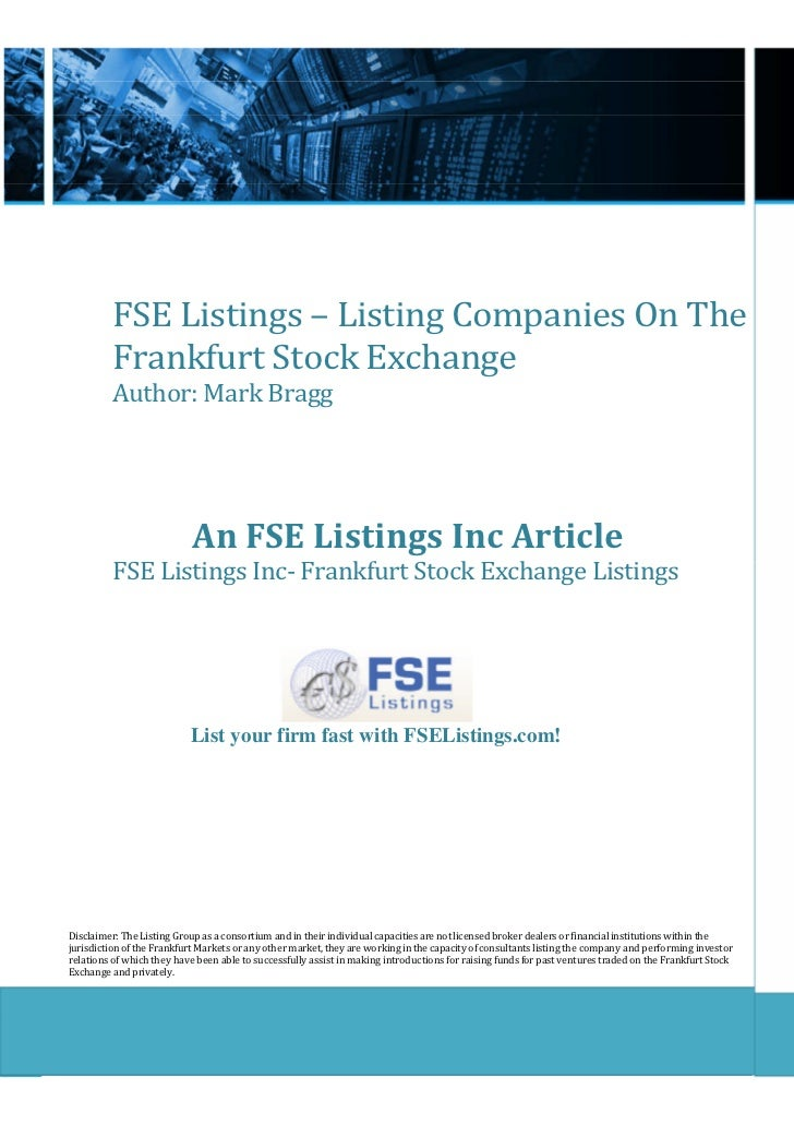 Fse listings listing_companies_on_the_frankfurt_stock_exchange