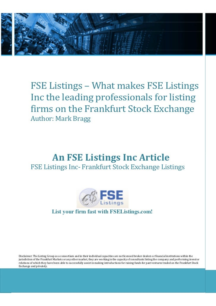 FSE Listings – What makes FSE Listings          Inc the leading professionals for listing          firms on the Frankfurt ...