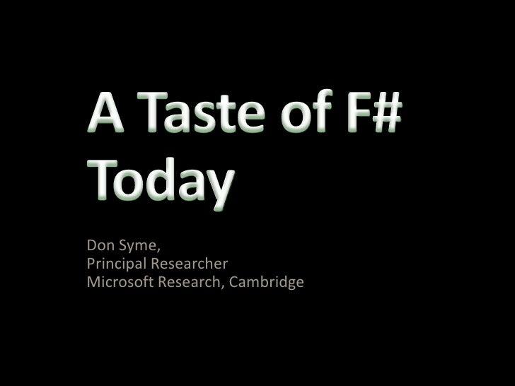 London F-Sharp User Group : Don Syme on F# - 09/09/2010