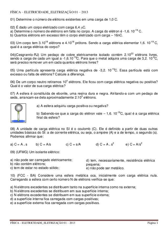 Física – eletricidade eletrização 01 – 2013