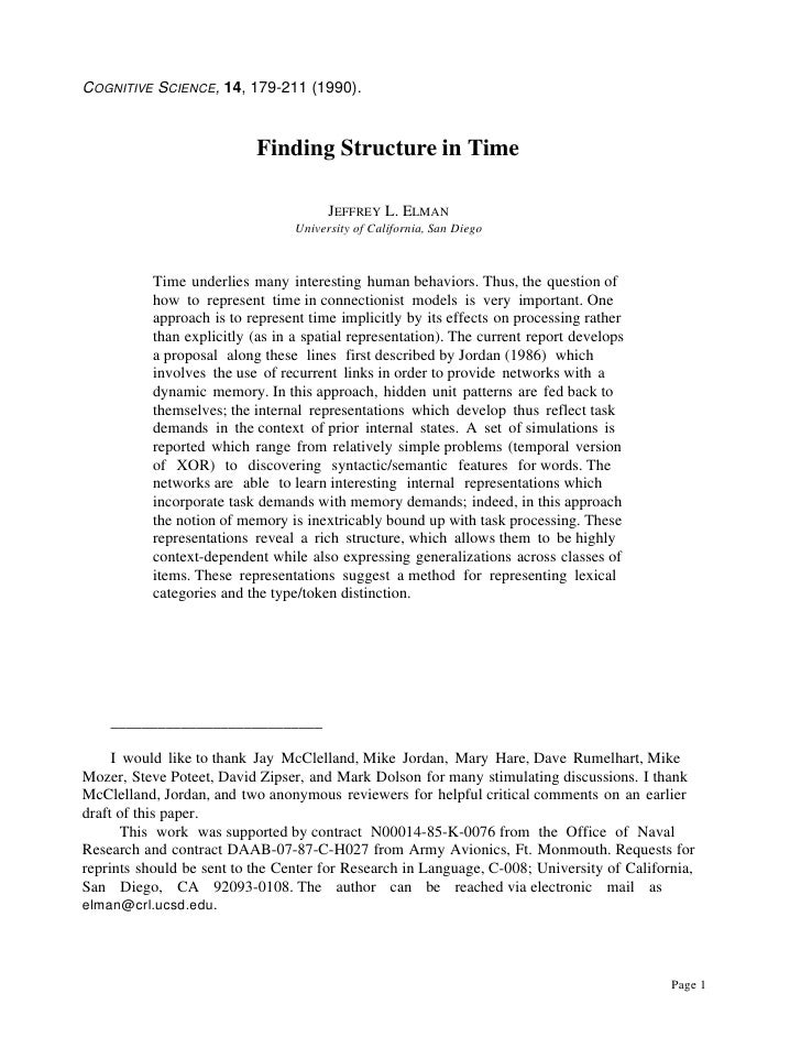 Finding Structure in Time NEURAL NETWORKS