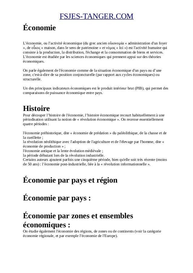FSJES-TANGER.COM Économie L'économie, ou l'activité économique (du grec ancien οἰκονομία « administration d'un foyer », de...