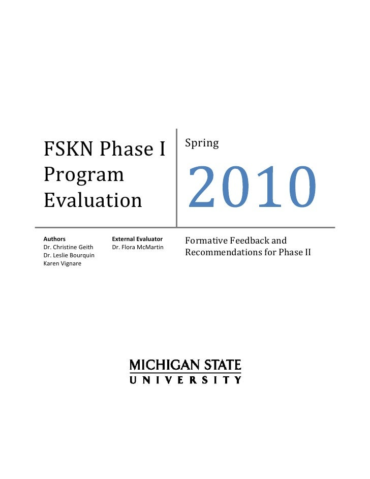 F S K N  Phase I  Program  Evaluation 03 03 10