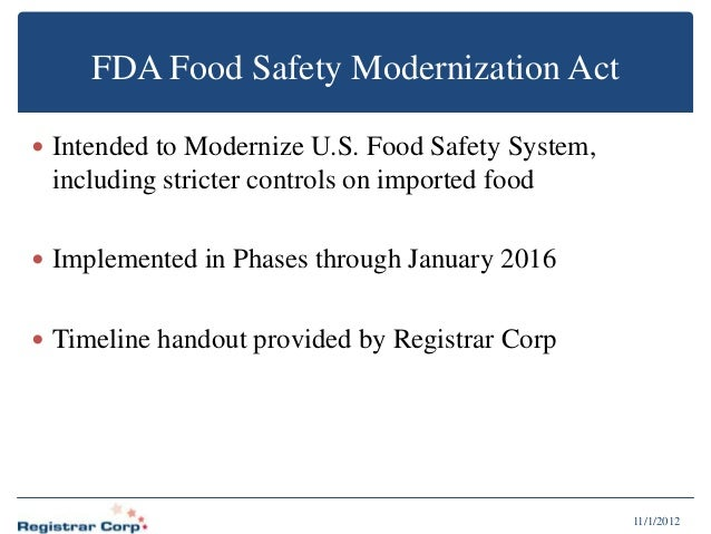 analysis of the food safety modernization Food safety modernization act the us food and drug administration's (fda) food safety modernization act hazard analysis and risk-based preventive controls.
