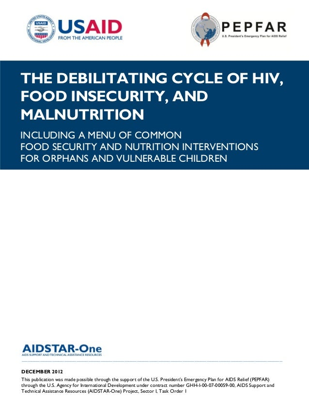 |THE DEBILITATING CYCLE OF HIV,FOOD INSECURITY, ANDMALNUTRITIONINCLUDING A MENU OF COMMONFOOD SECURITY AND NUTRITION INTER...