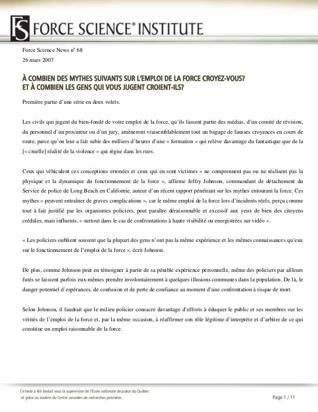 Force Science News no 68 26 mars 2007  À COMBIEN DES MYTHES SUIVANTS SUR L'EMPLOI DE LA FORCE CROYEZ-VOUS? ET À COMBIEN LE...