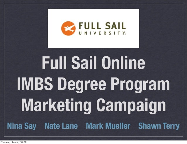 Full Sail Online              IMBS Degree Program               Marketing Campaign     Nina Say Nate Lane Mark Mueller Sha...