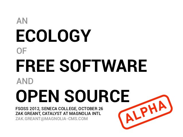 The Ecology of Free Software and Open Source