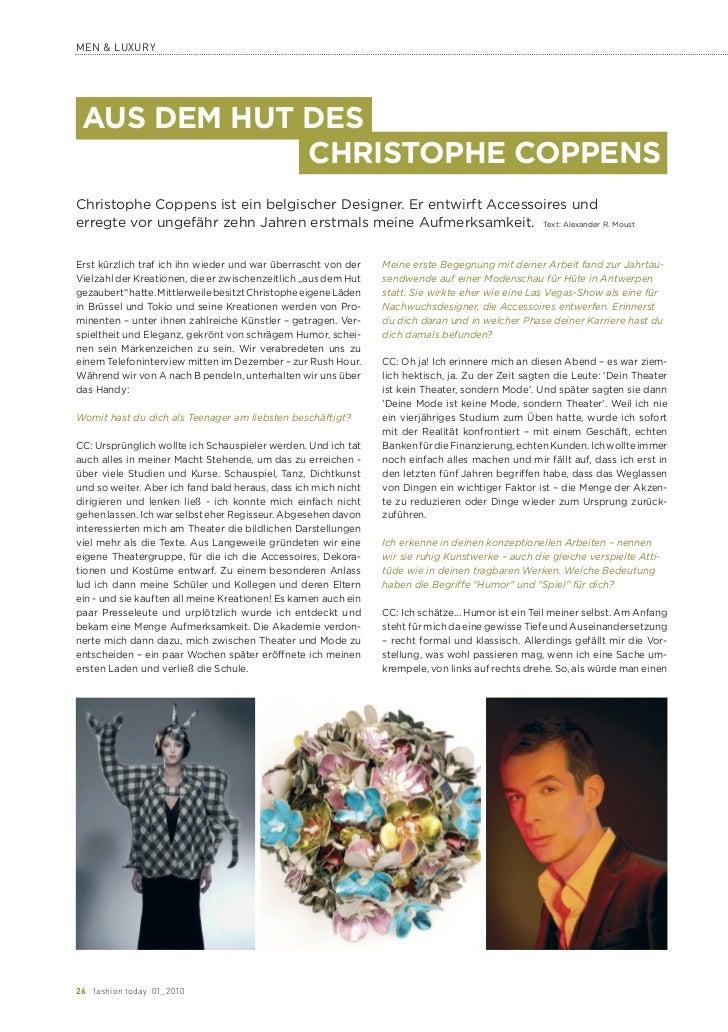 MEN & LUXURY AUS DEM HUT DES             CHRISTOPHE COPPENSChristophe Coppens ist ein belgischer Designer. Er entwirft Acc...