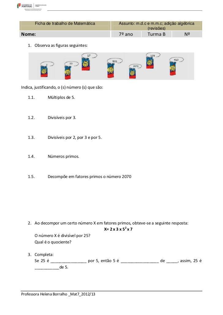 Ficha de trabalho de Matemática          Assunto: m.d.c e m.m.c; adição algébrica                                         ...