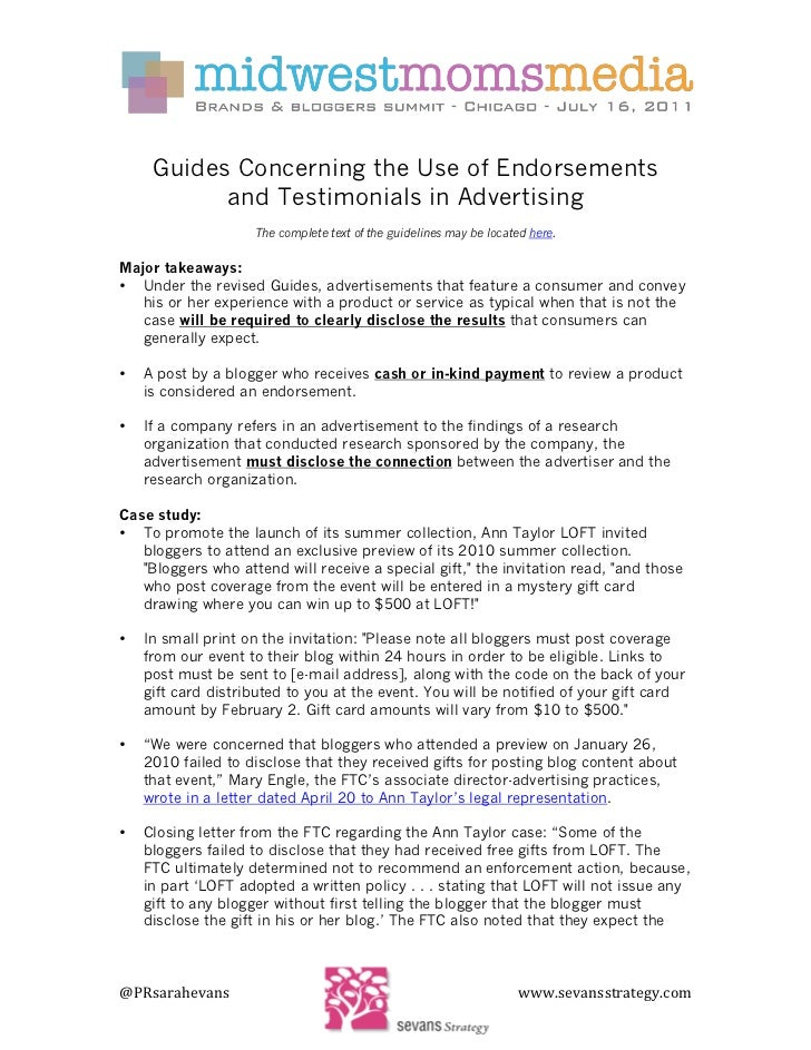 FTC Overview for Online Endorsements