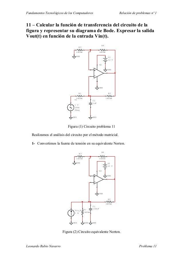 Fundamentos Tecnológicos de los Computadores Relación de problemas nº 1 11 – Calcular la función de transferencia del circ...