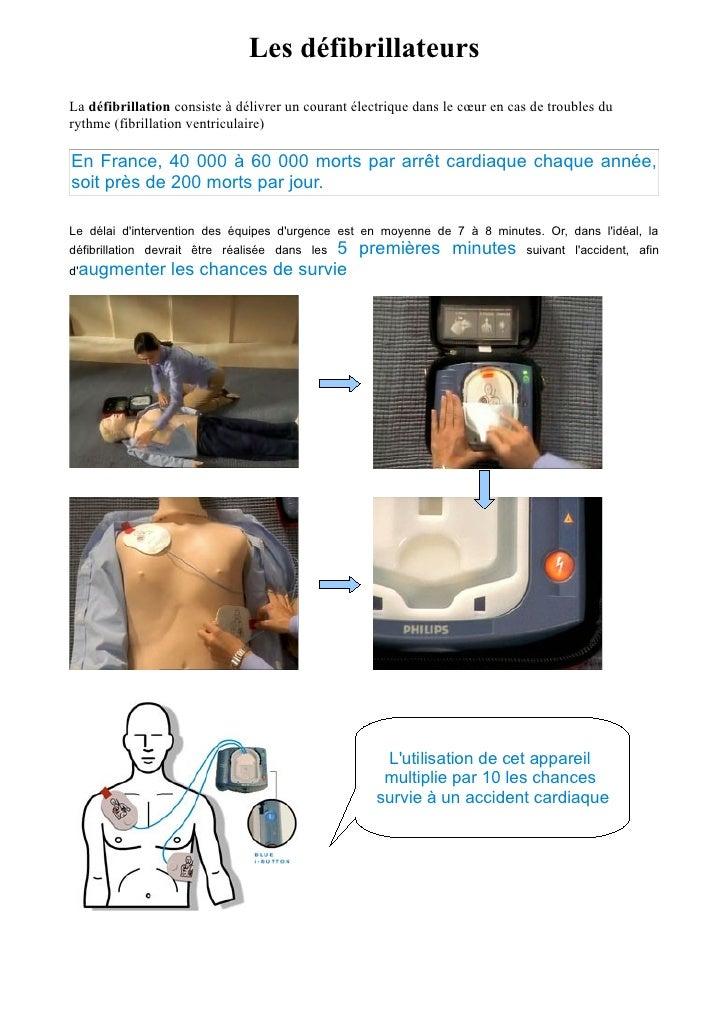 Les défibrillateurs La défibrillation consiste à délivrer un courant électrique dans le cœur en cas de troubles du rythme ...