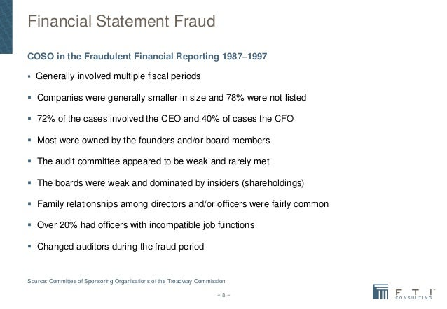 financial statement frauds Financial statement fraud is deliberate misrepresentation, misstatement or omission of financial statement data for the purpose of misleading the reader and creating.