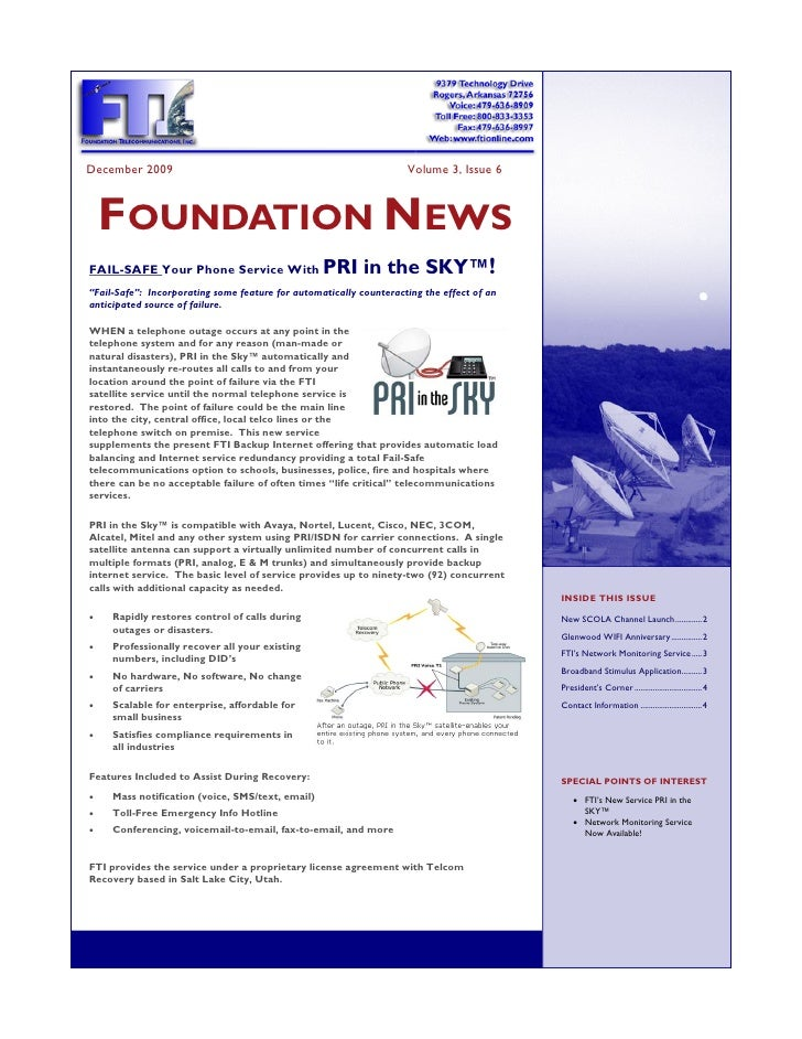 December 2009                                                       Volume 3, Issue 6         FOUNDATION NEWS FAIL-SAFE Yo...