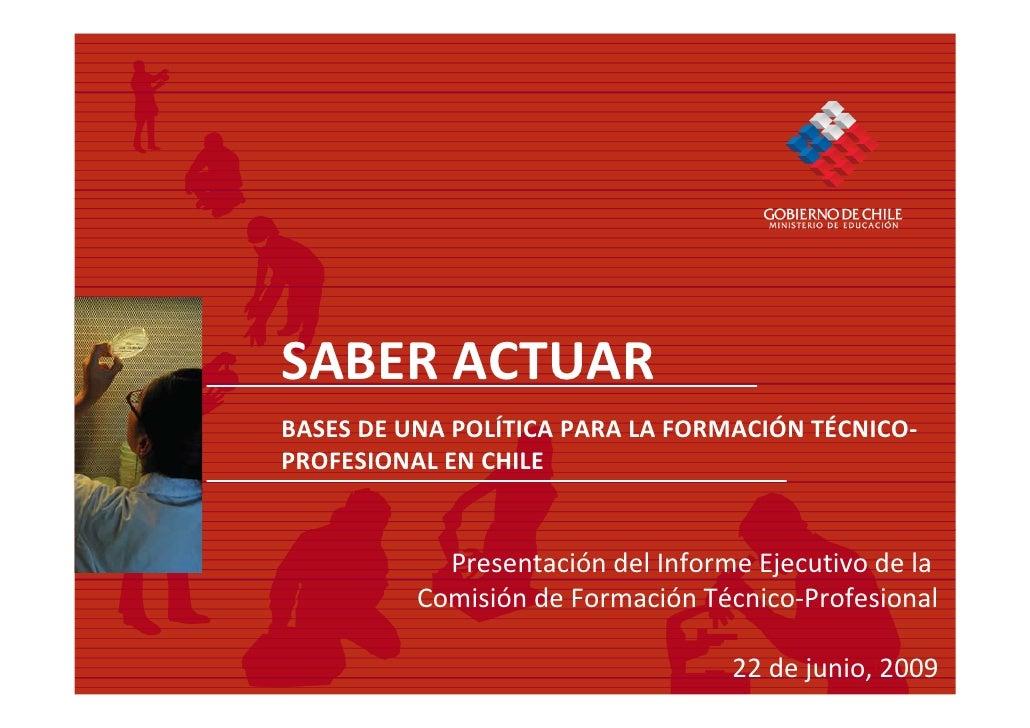 Presentación Bases para una Política de Formación Técnico Profesional en Chile