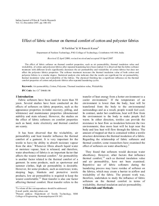 Indian Journal of Fibre & Textile Research Vol. 32, December 2007, pp. 446-452  Effect of fabric softener on thermal comfo...