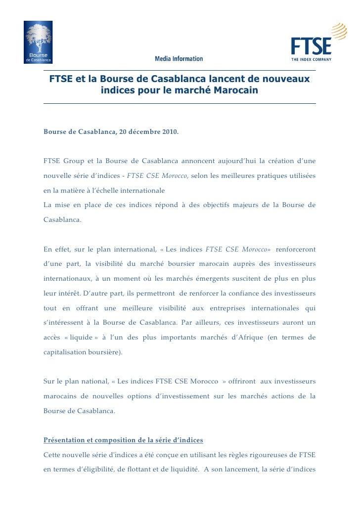 FTSE et la Bourse de Casablanca lancent de nouveaux               indices pour le marché MarocainBoursedeCasablanca,20...