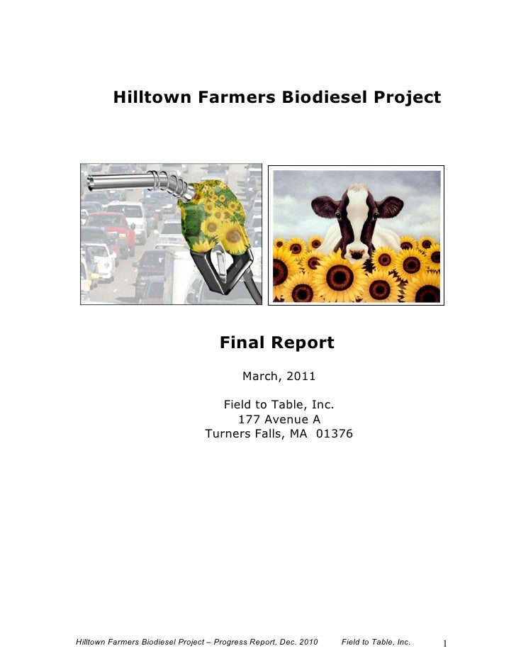 Hilltown Farmers Biodiesel Project                                     Final Report                                       ...