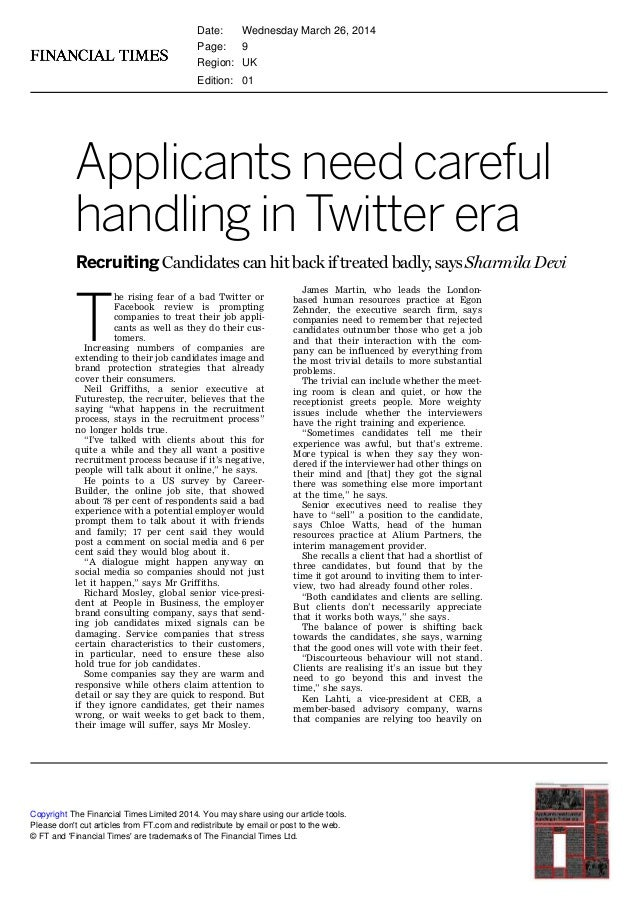 Applicants need careful handling in Twitter era Recruiting Candidates can hit back if treated badly, says Sharmila Devi T ...