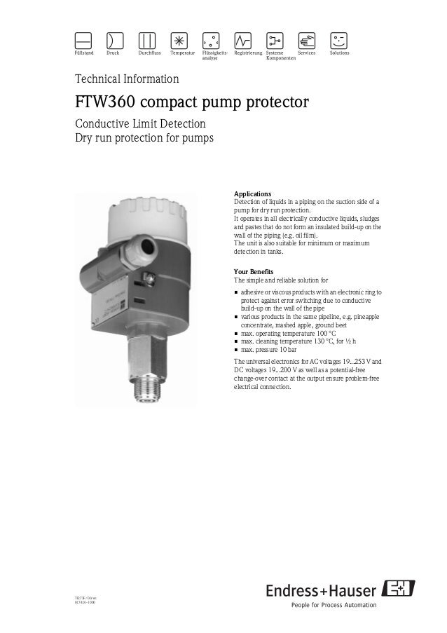 TI273F/00/en017401-1000Technical InformationFTW360 compact pump protectorConductive Limit DetectionDry run protection for ...